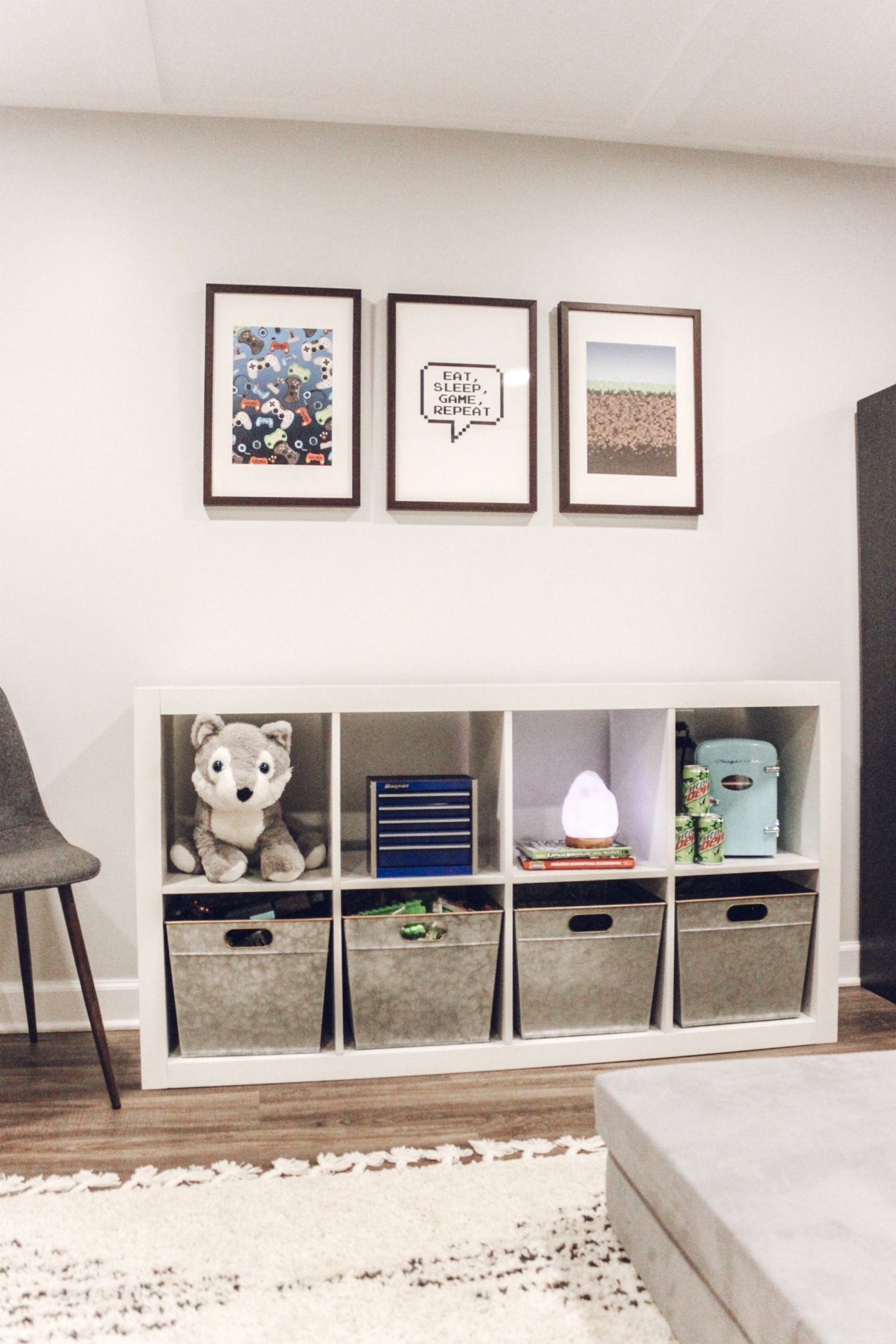 Game Room Wall Art and Storage