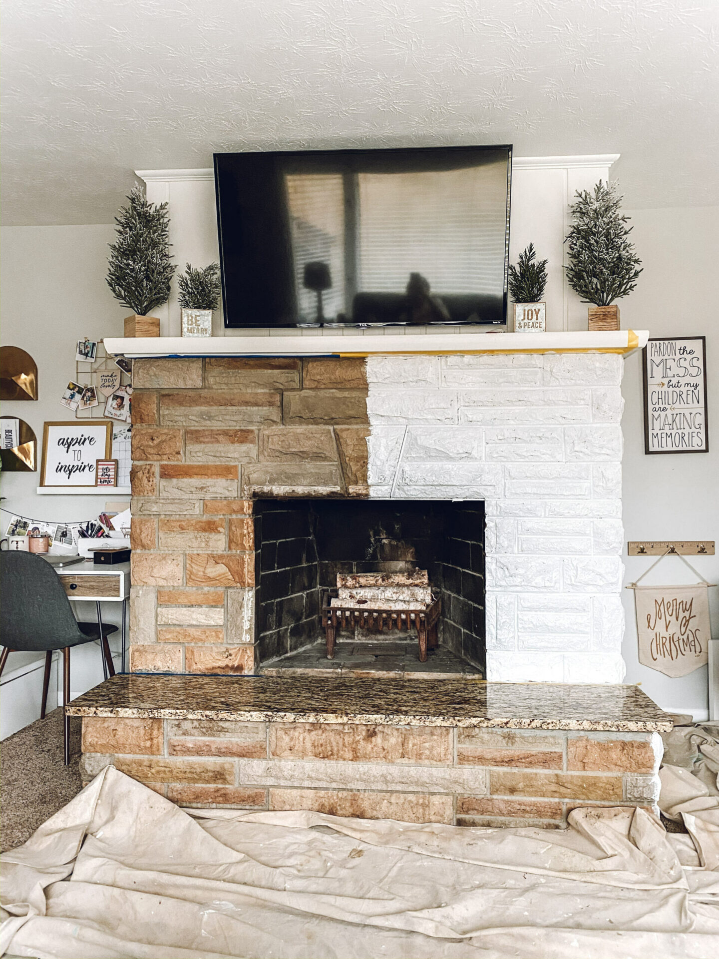 painted fireplace Cozy Fireplace Update