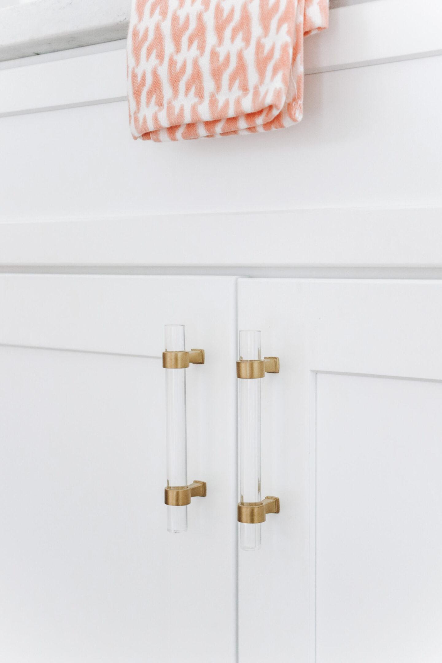 gold acrylic hardware Master Bathroom Remodel