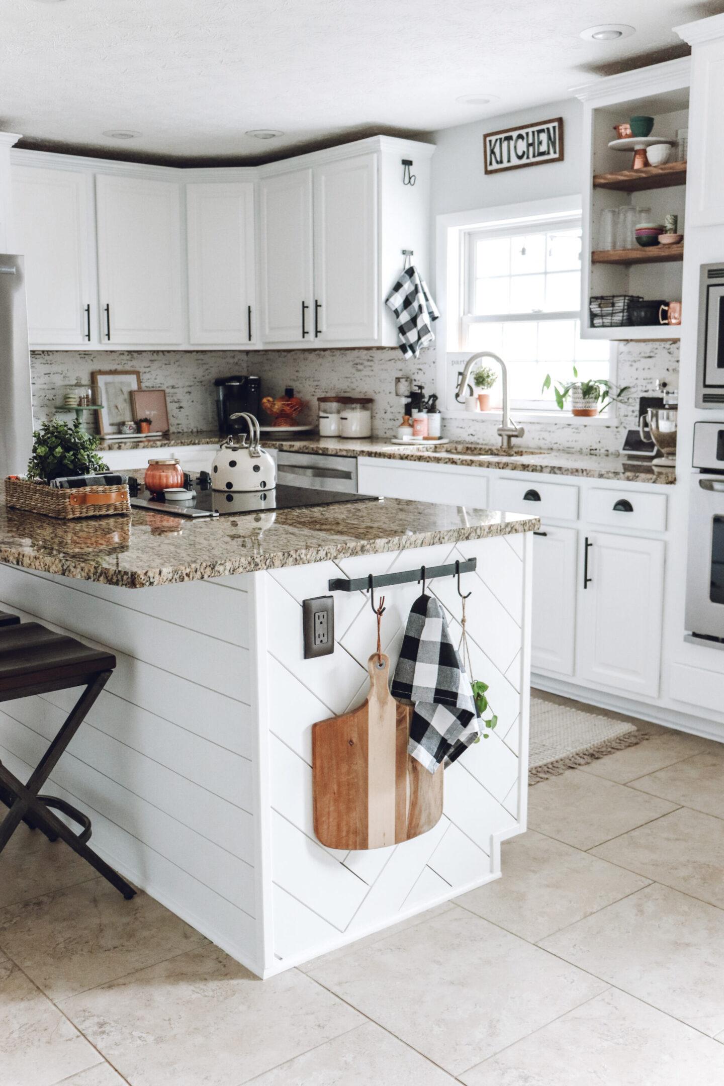 herringbone shiplap kitchen island