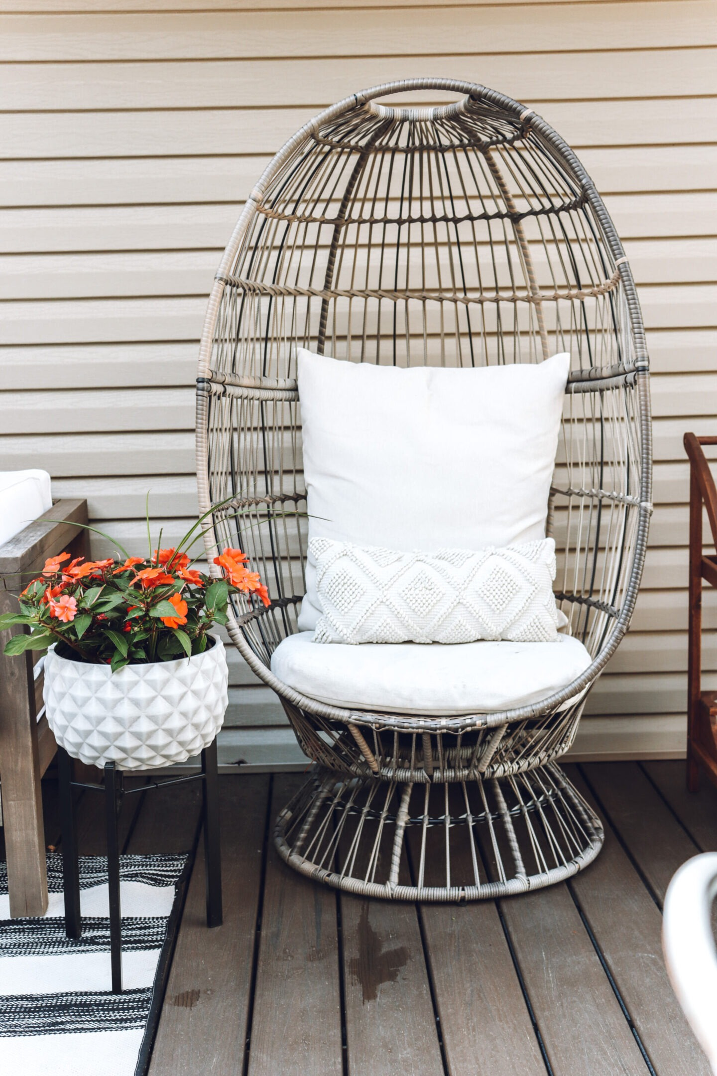 egg chair on deck