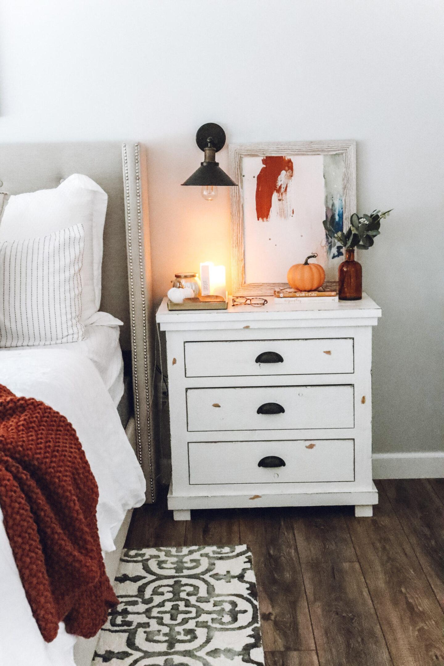 cozy fall master bedroom nightstand