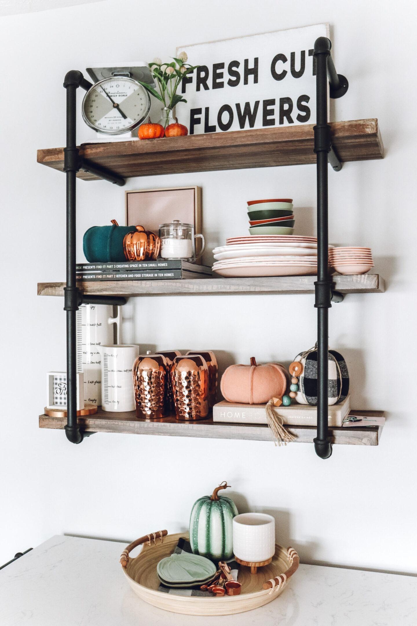 Fall shelf decor