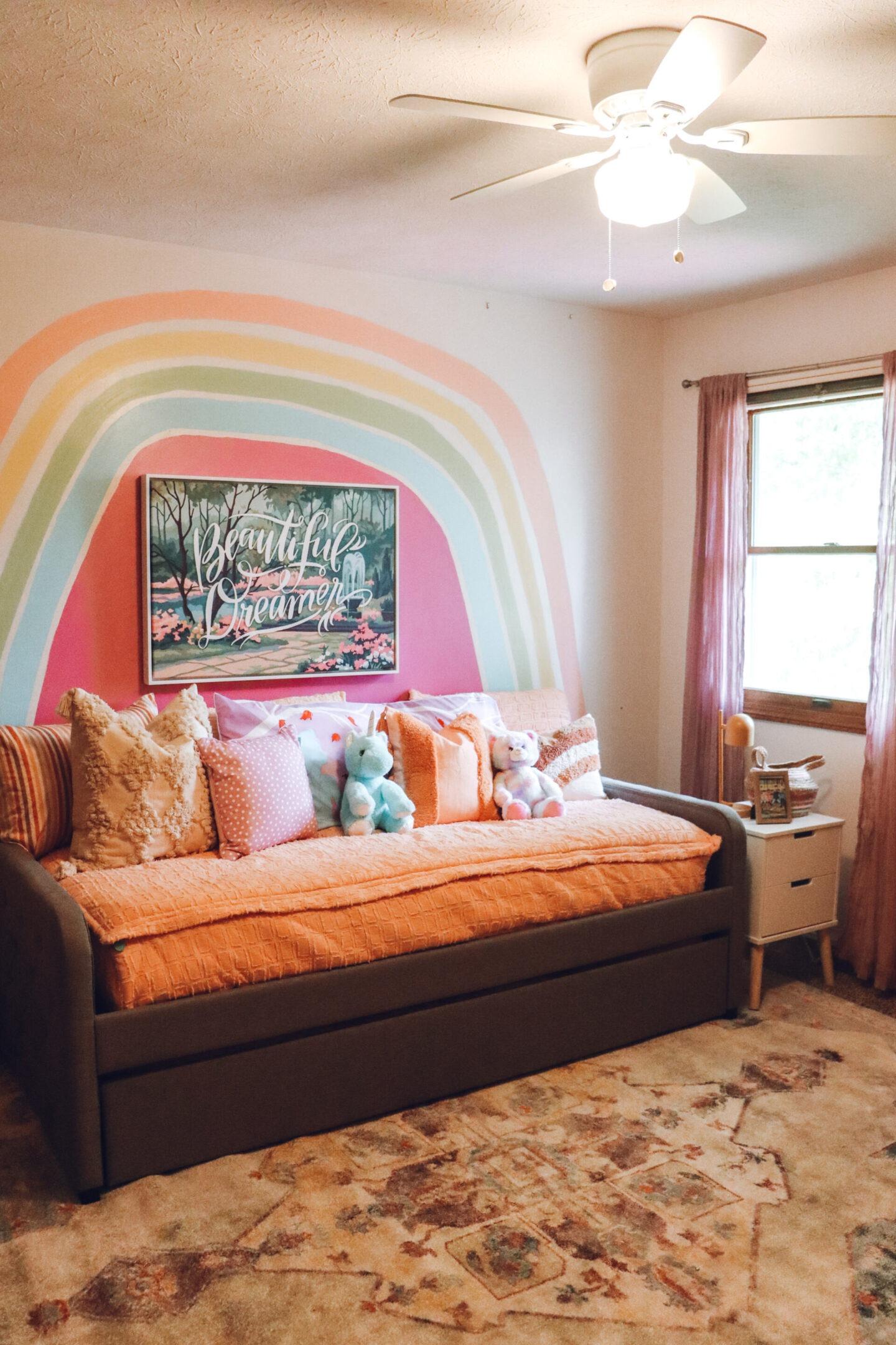 rainbow accent wall