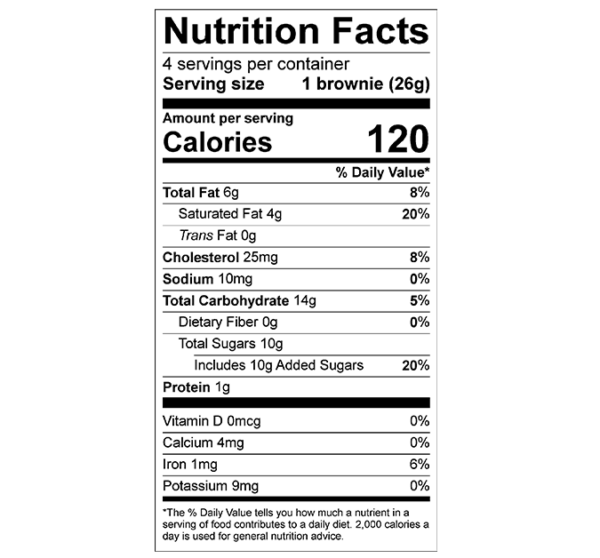 Nutrition Facts Brownies