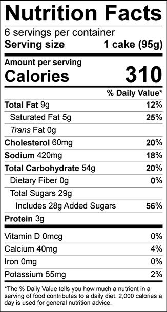 Nutrition Facts Steiner's Coffee Cake