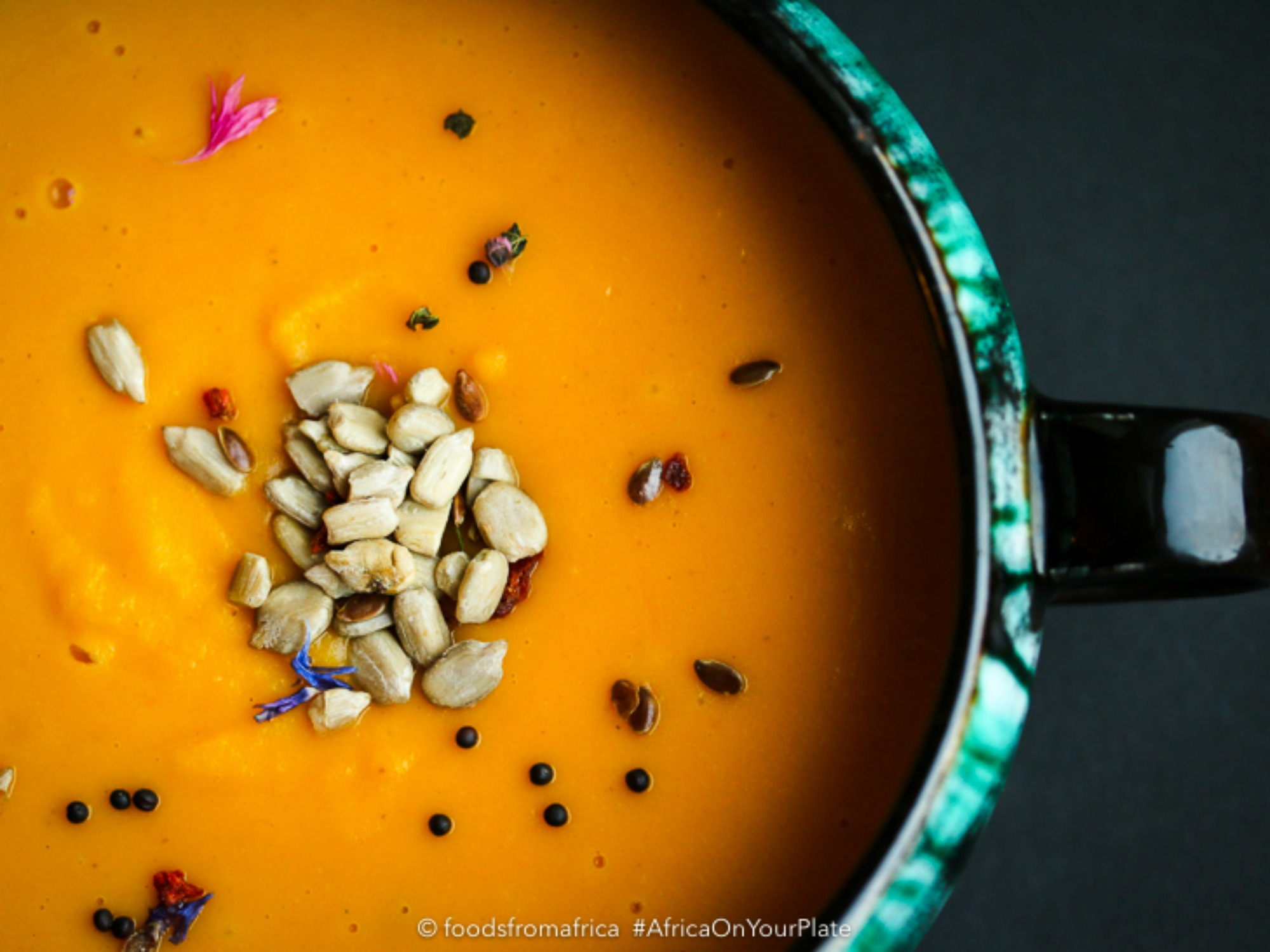 This roasted squash sweet potato soup from Mozambique is silky smooth in texture, easy to make and brimming with a depth of flavours.