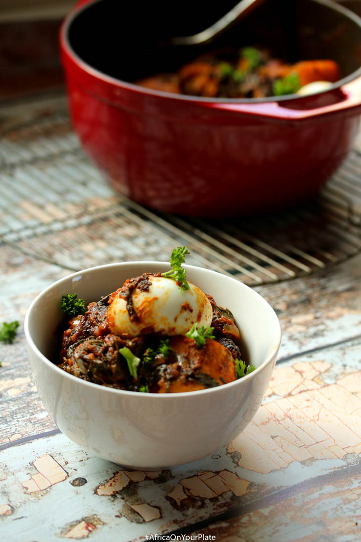 This one-pot plantain spinach stew features plantain and spinach slowly simmered in berbere-spiced palm oil sauce to create a complexly flavoured stew.