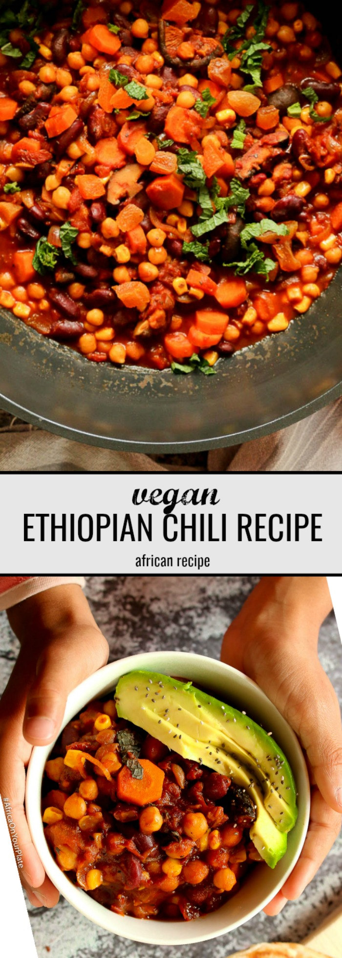 This vegan chili recipe is hearty, and filling. With a mix of chickpeas (garbanzo beans), beans, sweet corn, and Ethiopian spices, this vegan African chili is easy to make, bursting with flavours and nutrients and a secret umami ingredient.