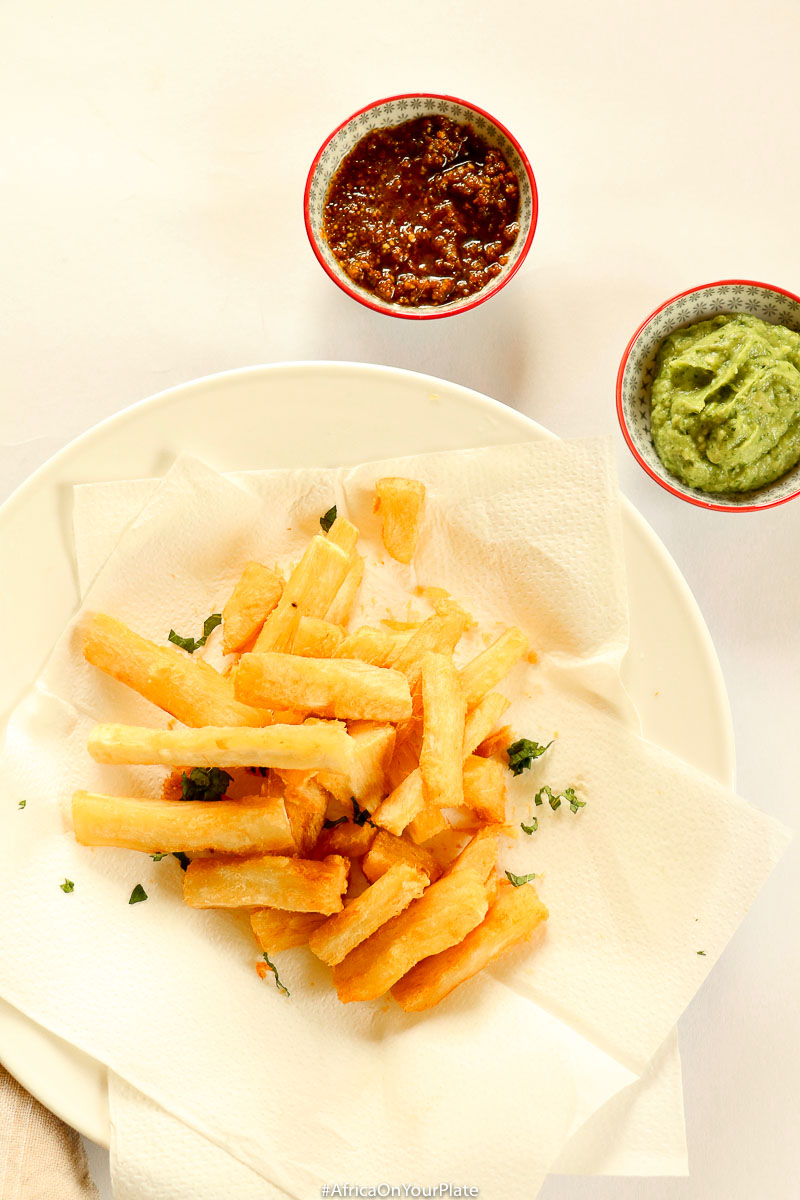 These Cassava (Yuca) fries have an extra crunchy exterior and a soft and fluffy interior, and are vegan and gluten-free. Served here with an insanely delicious, spinach and avocado dip that you'll want to put on everything. Great as a snack, side dish or appetiser any time!