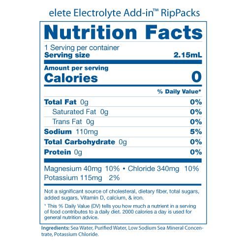 elete RipPacks Nutrition Facts Panels