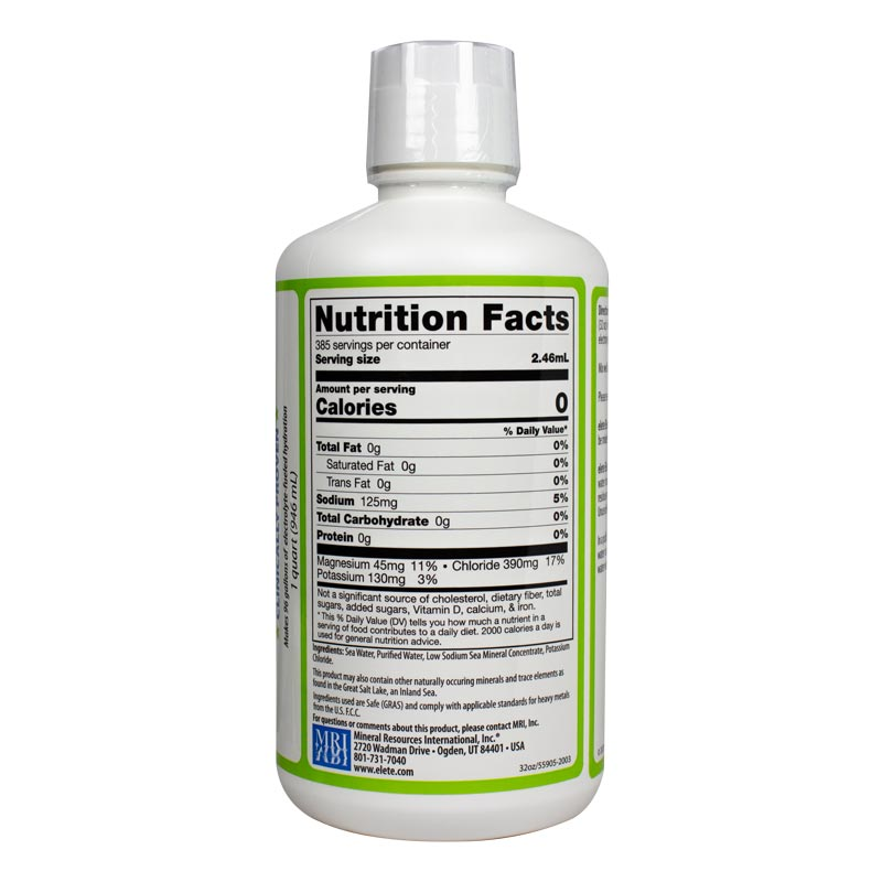 elete electrolytes Add-In 32oz Facts panel