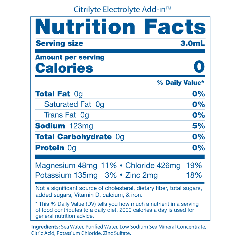 Citrilyte Nutrition Facts Panels 2008
