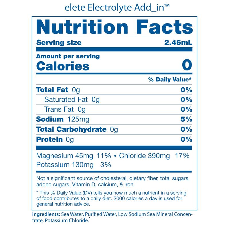 elete Nutrition Facts Panels 2008