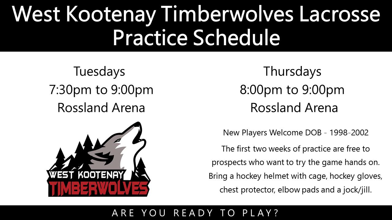 West Kootenay Timberwolves Lacrosse 2019 Practice