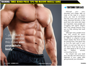 THREE BENCH PRESS TIPS FOR MASSIVE MUSCLE GAINZ