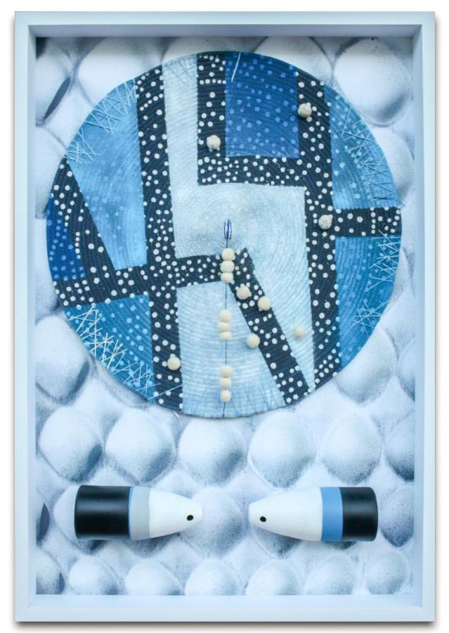 Blue Moon | Mixed media, silk screen, acrylic, wood | 40x50