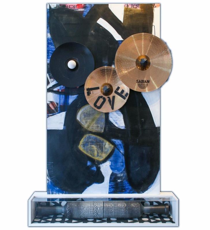 Raw Beauty   Yarn, cymbals, ceramic, acrylic on canvas   36x82