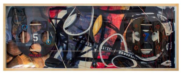 Sacred Souls | Silk screen, acrylic, yarn, plexiglass, plastic, wood | 36X96
