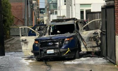 Breaking Officer ambushed, patrol vehicle set on fire while he was inside it – no details released on suspect