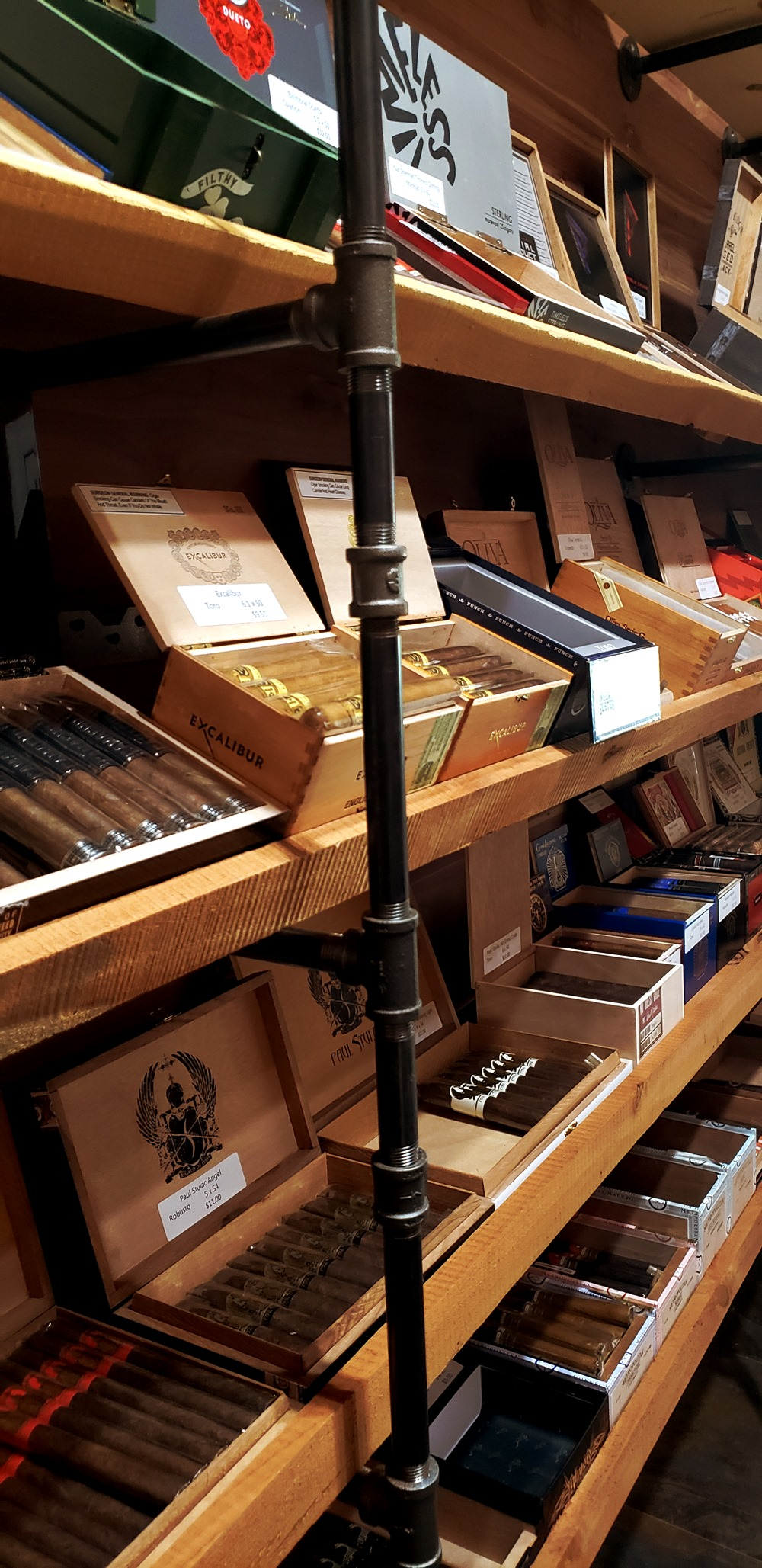 Inside our humidor, showing a wide selection of cigars.