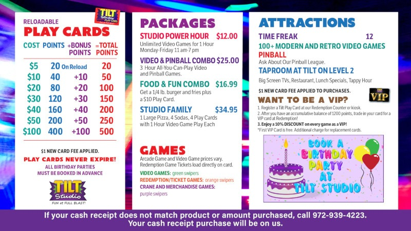 Tilt Studio Tempe price menu