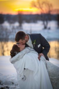 Bride and Groom Winter Sunset Picture