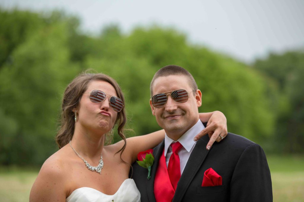 Bride and Groom in sunglasses