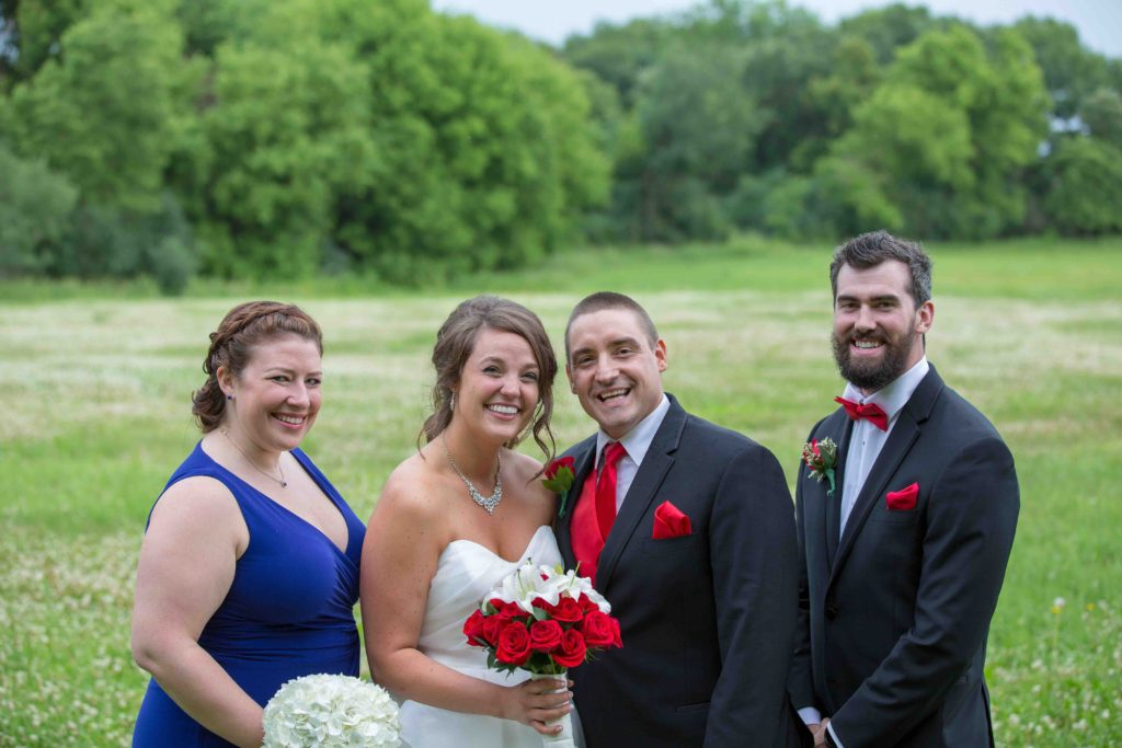Posed picture with the bride and groom