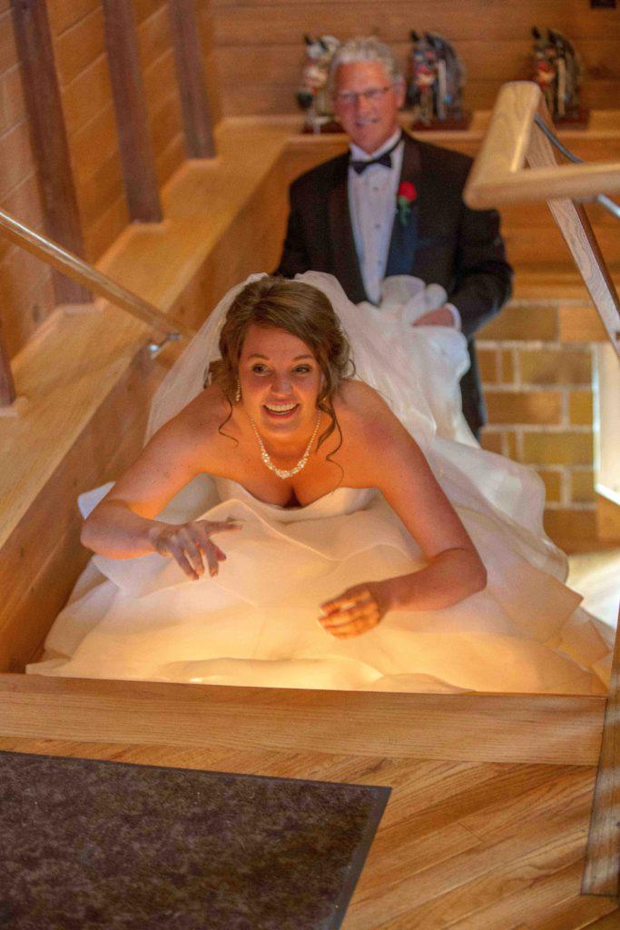 Bride Crouching down before wedding