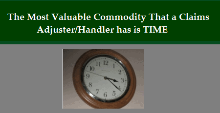 The Most Valuable Commodity That a Claims Adjuster/Handler has is…TIME