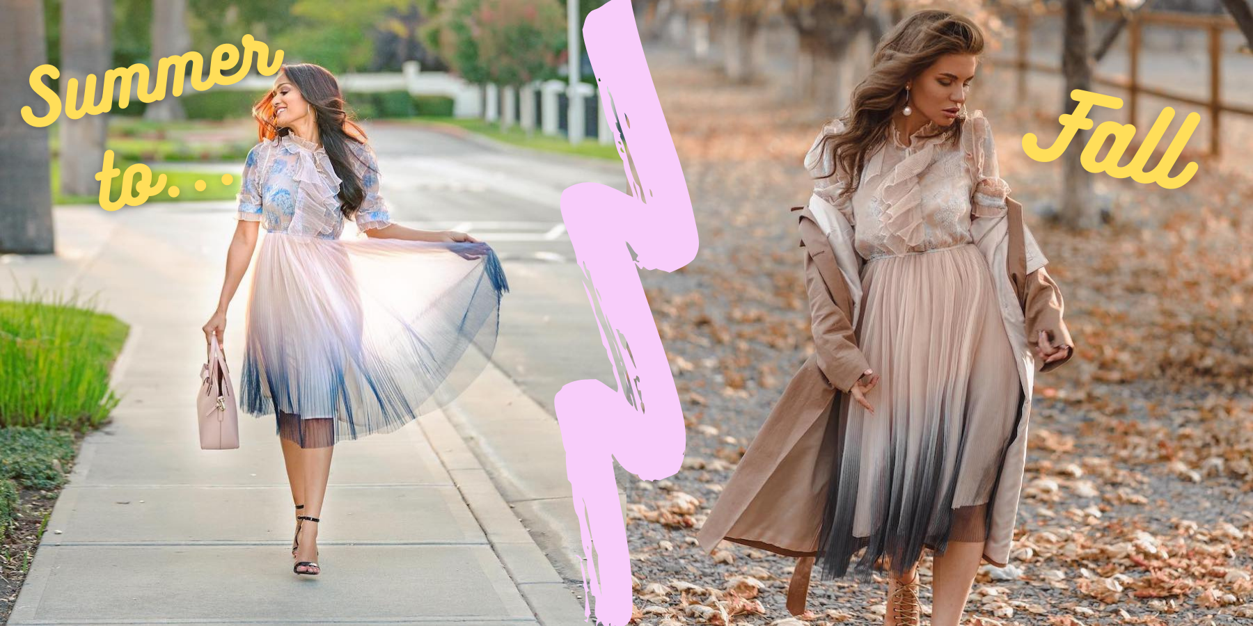 photo on left shows a woma nwearing a tulle dress with a nude to navy gradient and right shows woman wearing the same dress with boots and a coat over it