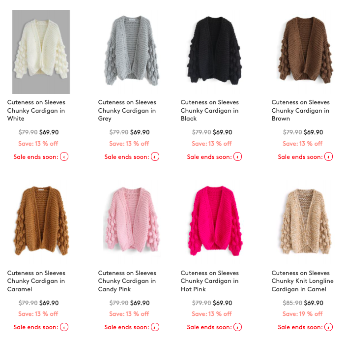 screenshot of the bell sleeved open front chunky knit sweater with pom pom balls on it in different coors including beige, brown, hot pink, white, blue, and black