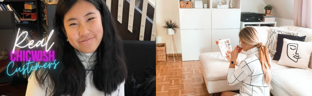 left side is a chicwish customer smiling and wearing a turtleneck dress and right is a chicwish blogger wearing the same dress while sitting on the floor in her living room
