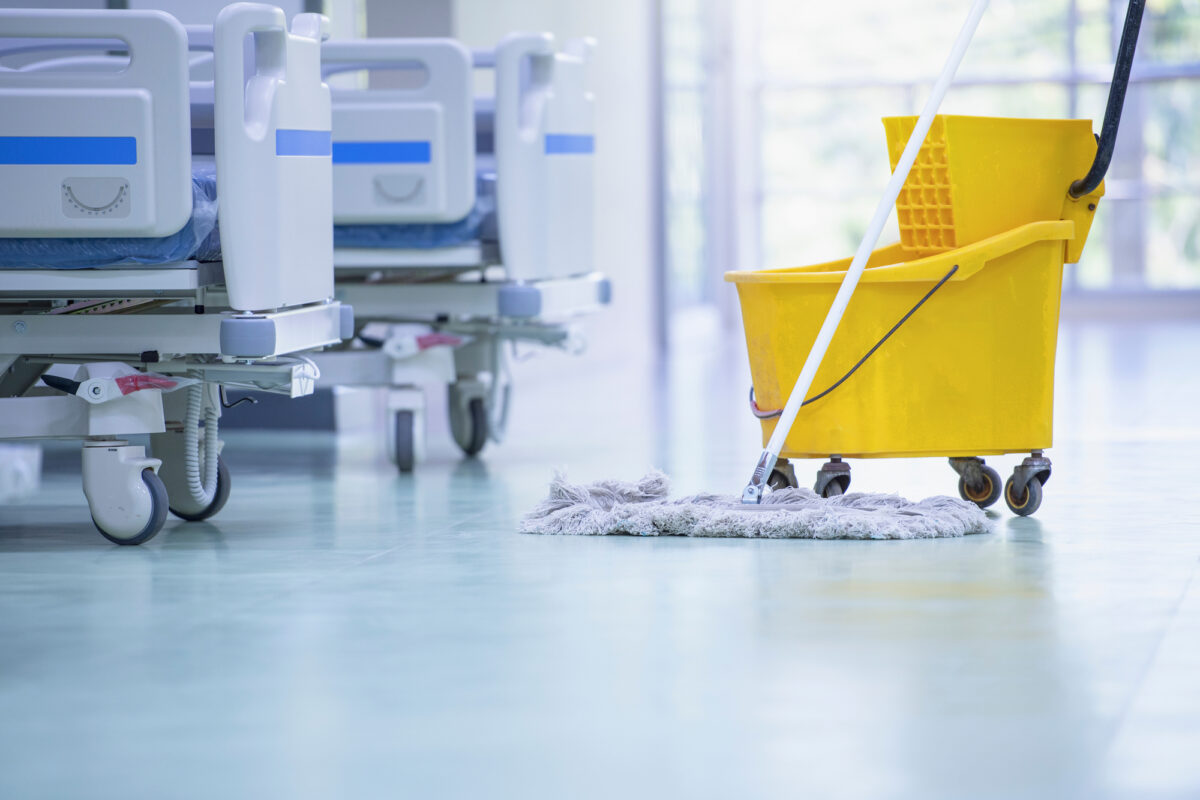 Mop and mop bucket in a hospital