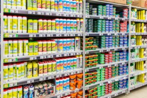 Store aisle of EPA approved disinfectants