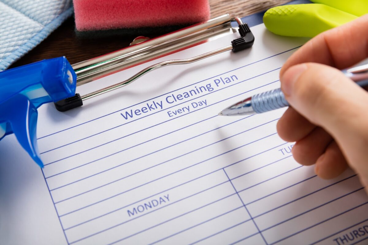 Weekly cleaning plan for a company
