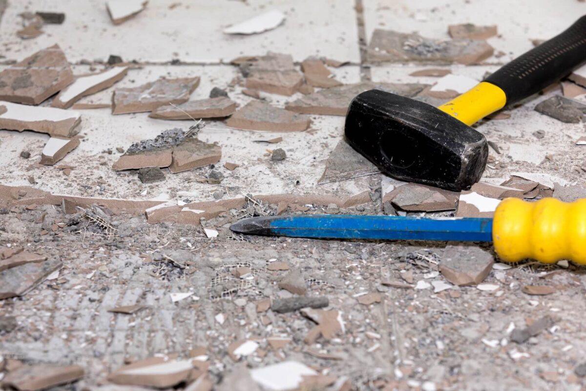 Construction on a bathroom floor
