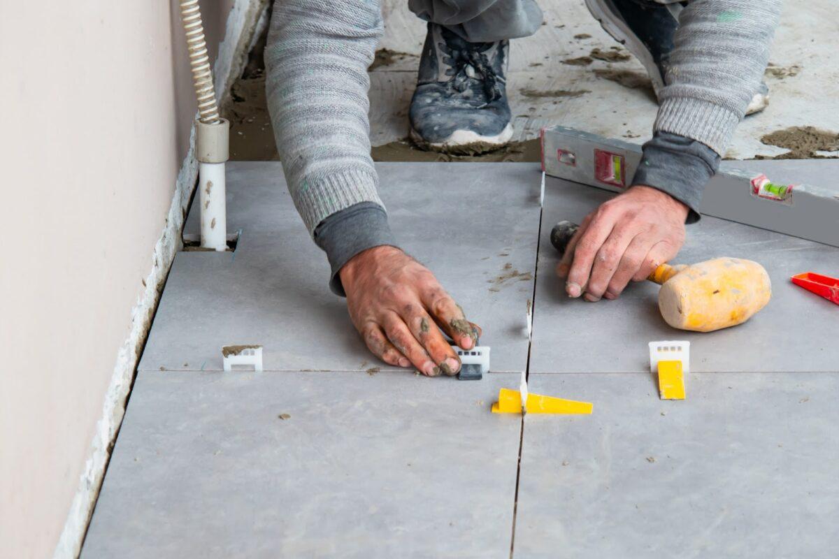Contractor doing floor repairs