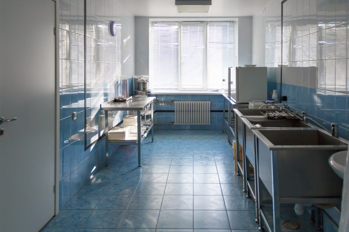 Commercial floor in kitchen of a hospital