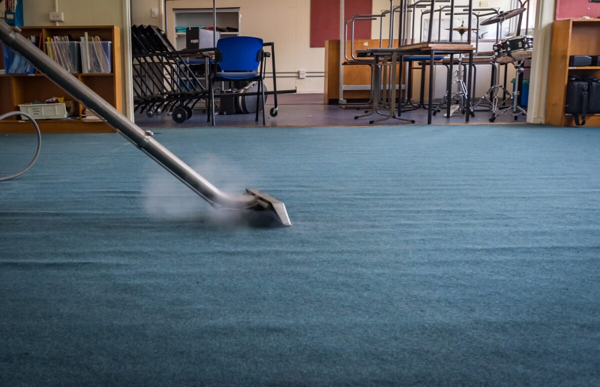 Commercial carpet being cleaned