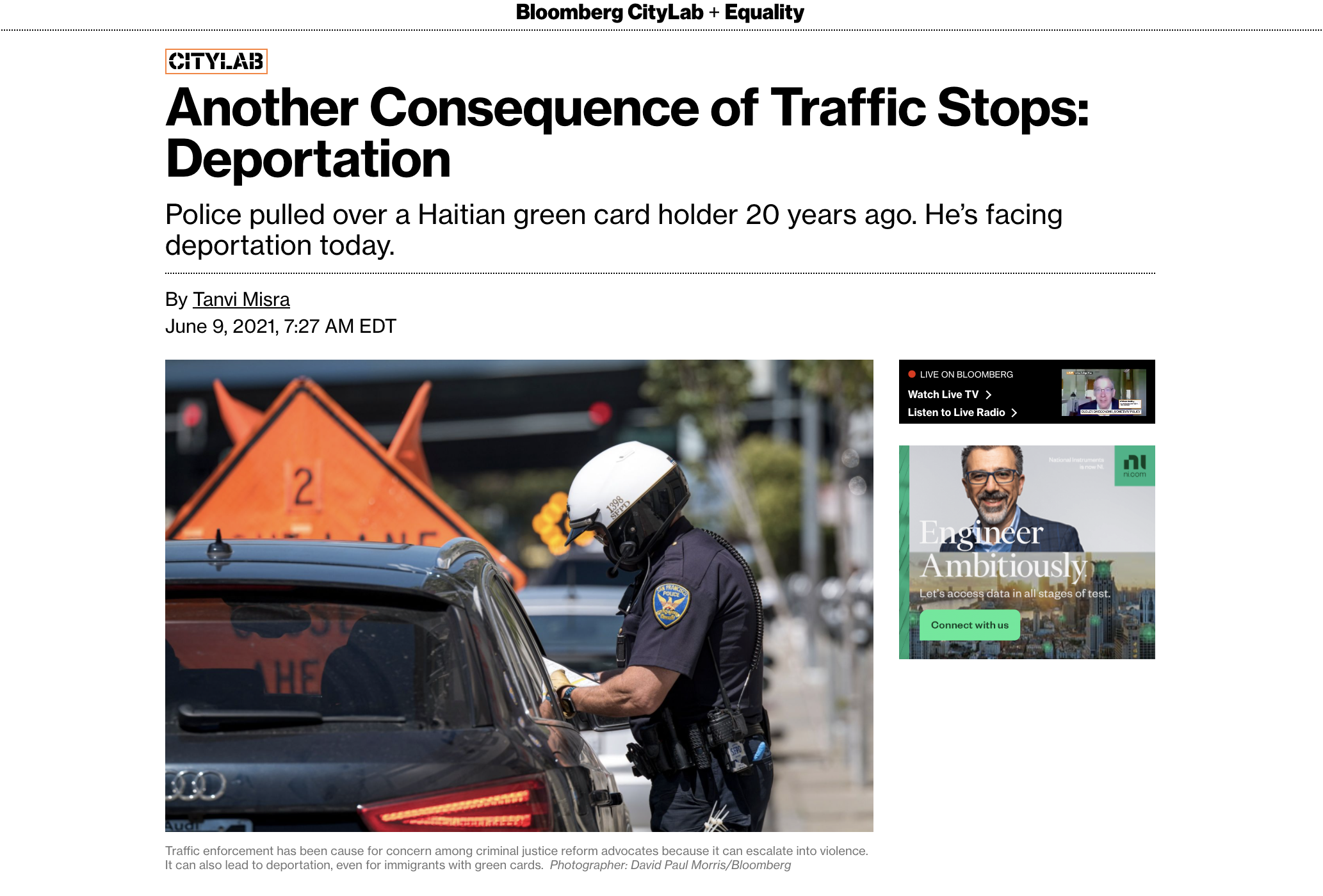 Another Consequence of Traffic Stops: Deportation