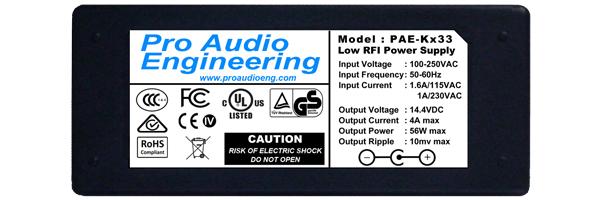 PAE-Kx33 Low-RFI 14V 4A Power Supply