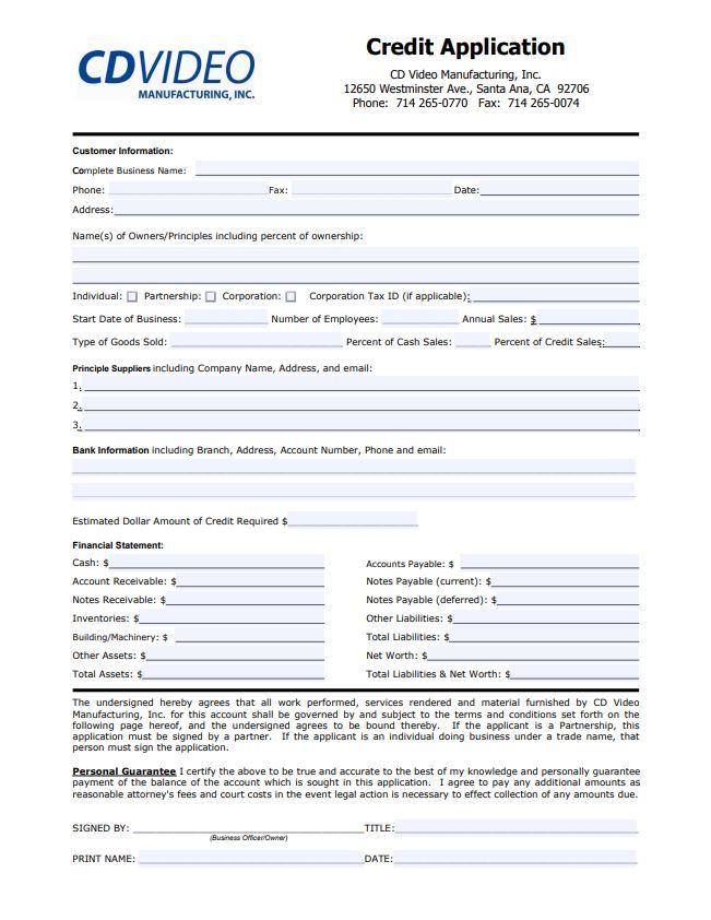 信用申请和条款