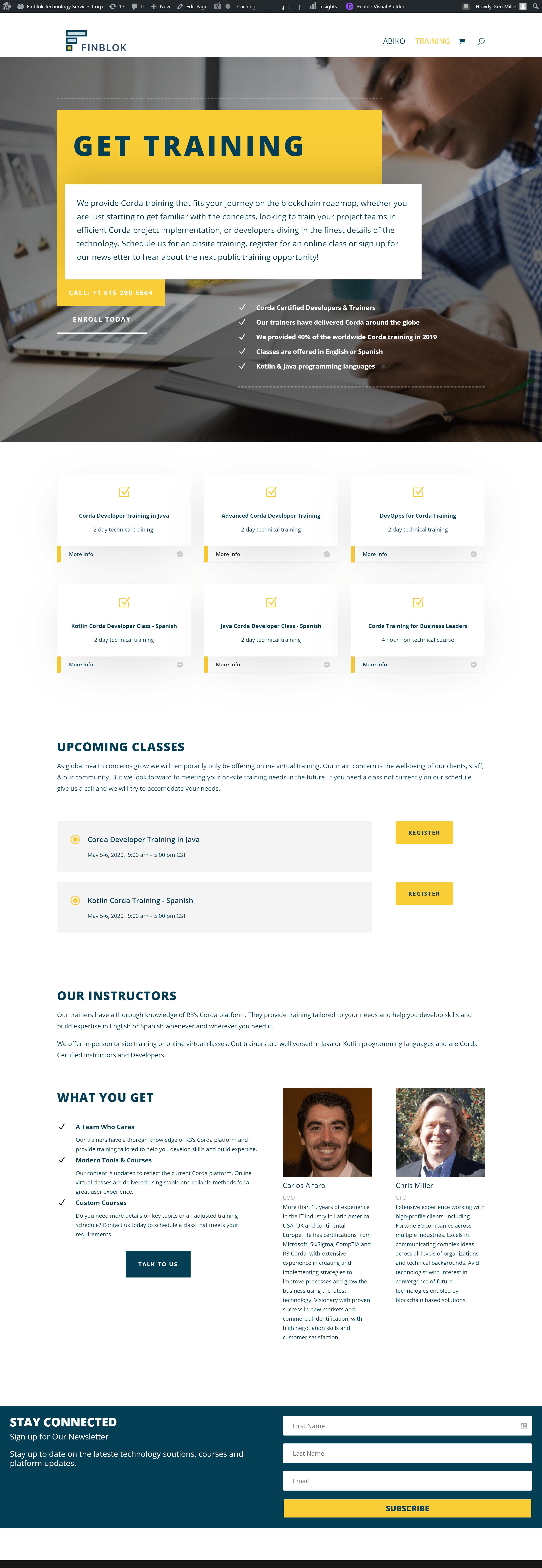 Finblok training page