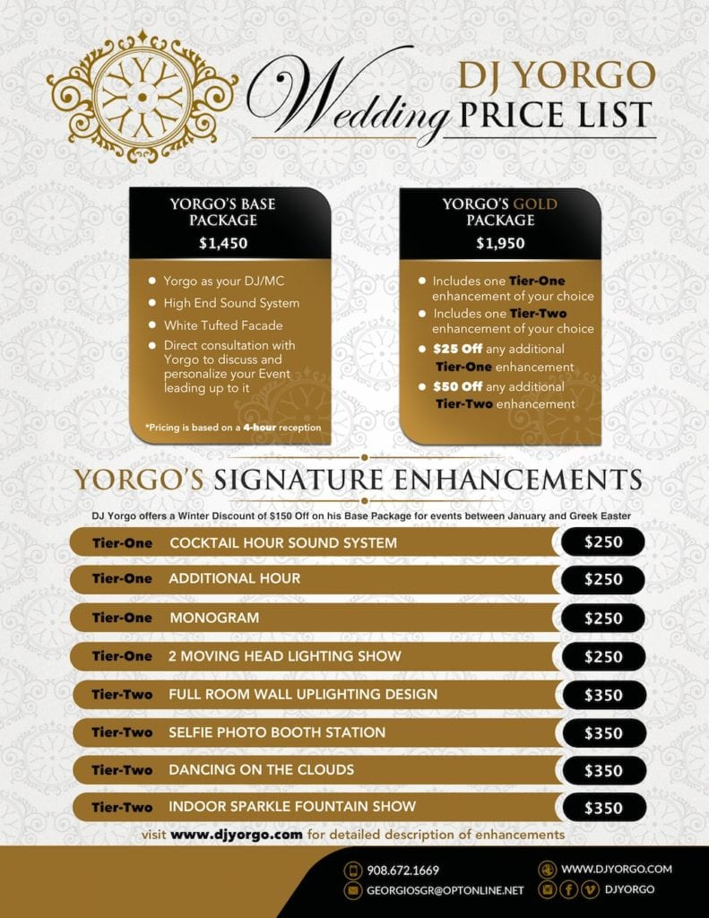 Wedding Pricing List