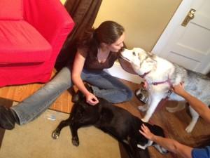 Jennifer kisses dog