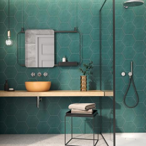 Hex Mayfair Vert : Matt Granito Tile (19.8x22.8)cm