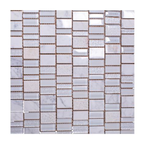 K16310MWT: Stone/Glass Mosaic Tile 30.2×29