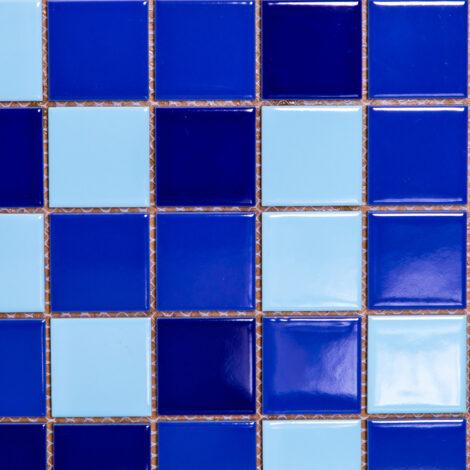 3478+2925+4381: Glassy Mixed Blue Porcelain Mosaic Tile 30.6×30